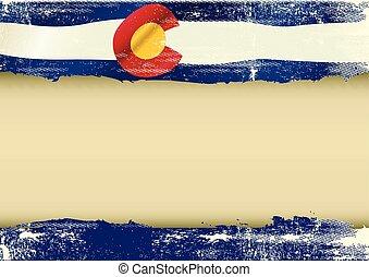 fahne, colorado, gekratzt, horizontal
