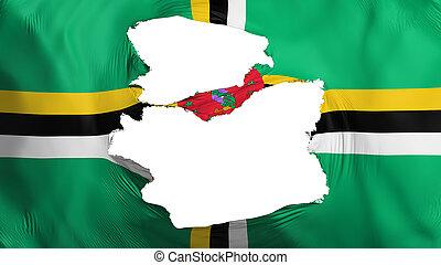 fahne, dominica, zerfetzt