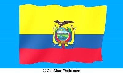 fahne, ecuador., winkende