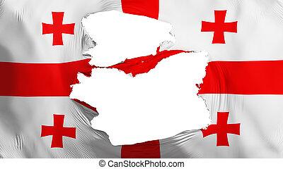 fahne, georgia, zerfetzt