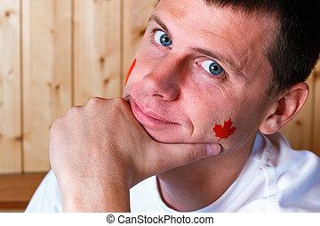 Fahne, Gesicht, junger, Mann, kanadier