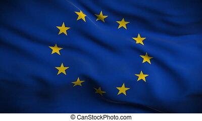 fahne, gewerkschaft, looped., europäische , hd.