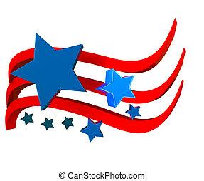 fahne, ikone, amerikanische , sternen, 3d
