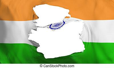 fahne, indien, zerfetzt
