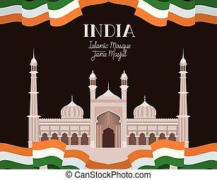 fahne, indische , masjid, jama, tempel