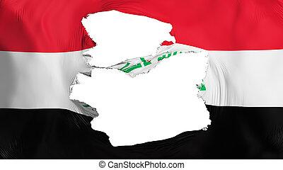 fahne, irak, zerfetzt