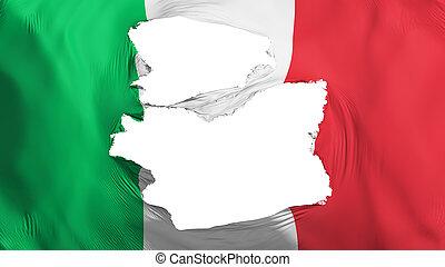 fahne, italien, zerfetzt
