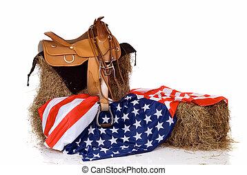 fahne, juli viert, pferdesattel