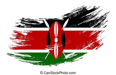 fahne, kenianer, vektor, illustration., hintergrund., grunge...