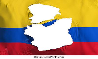fahne, kolumbien, zerfetzt
