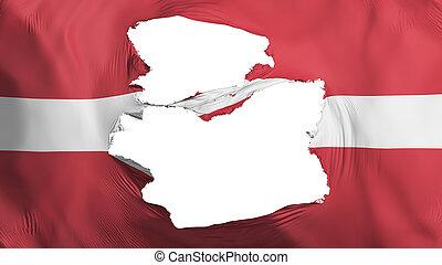fahne, lettland, zerfetzt