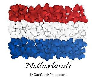 fahne, liebe, netherlands., fahne, herz, glossy., mit, liebe, von, netherlands., gemacht, in, netherlands., niederlande, national, unabhängigkeit, day., sport, mannschaft, flag., amsterdam