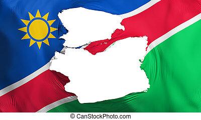 fahne, namibia, zerfetzt