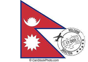 fahne, nepal, gestempelt, abbildung