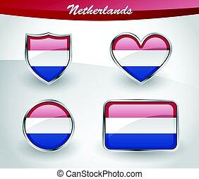 fahne, niederlande, satz, glänzend, ikone