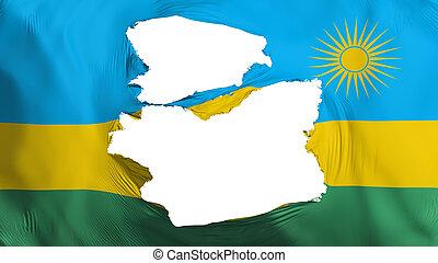 fahne, rwanda, zerfetzt