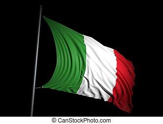 fahne, schwarzer hintergrund, italienesche