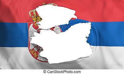 fahne, serbien, zerfetzt