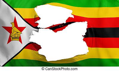 fahne, simbabwe, zerfetzt