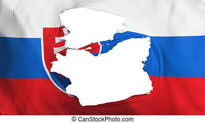 fahne, slowakei, zerfetzt