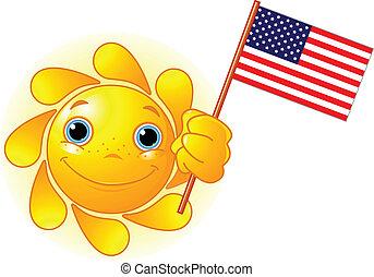 fahne, sommer, amerikanische , sonne