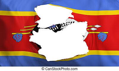 fahne, swaziland, zerfetzt