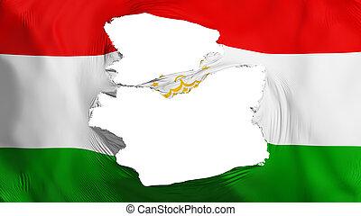 fahne, tajikistan, zerfetzt