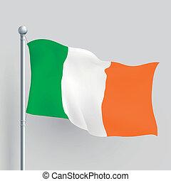 fahne, vektor, irland, 3d