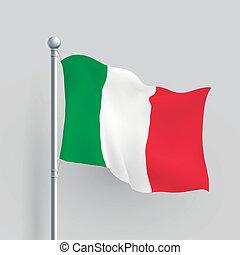fahne, vektor, italien, 3d
