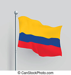 fahne, vektor, kolumbien, 3d