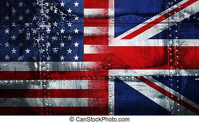 fahne, vereinigtes königreich, usa