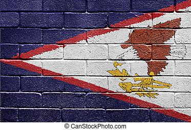 fahne, von, amerikanische samoa-inseln, auf, ziegelmauer