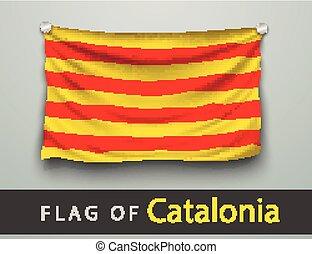 fahne, von, catalonia, zerschlagen, gehangen, auf, wand
