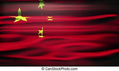 fahne, von, china., ein, belebt, chinesische markierungsfahne, aufschließen, winkende , mit, licht, und, flares.