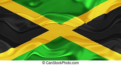 fahne, von, jamaika, wellig