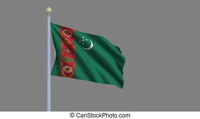 fahne, von, turkmenistan, winkende , wind