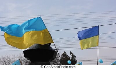 fahne, wind, ukrainisch