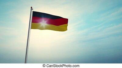 fahnenstange, -, 30fps, deutsch, föderativ, fahne, republik,...