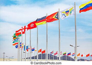 fahnenstange, verschieden, flaggen, countries., länder