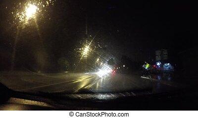 fahren, auf, a, auto, nacht, in, schwerer regen