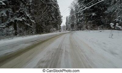 fahren, auf, curvy, winterwege