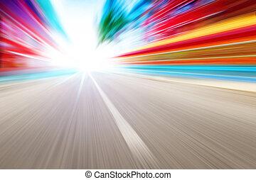 fahren, auf, hohe geschwindigkeit, in, leerer , straße