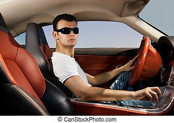 fahren, auto, modern, junger mann, sport, hübsch