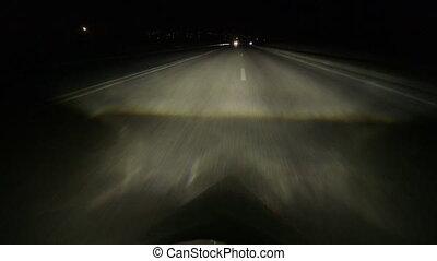 fahren, auto, nacht, landstraße