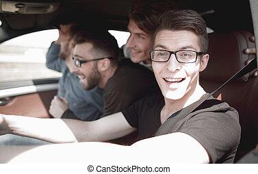 fahren, auto, oberseite, mann, rgeöffnete, seitenansicht