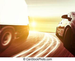 fahren, auto, schnell, luxus, seitenansicht