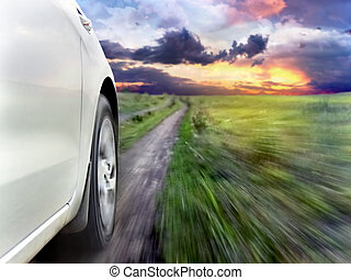 fahren, auto, schnell, während, front, silber, ansicht