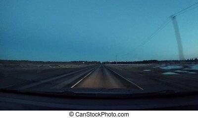 fahren autos, auf, a, ländlicher weg, nacht