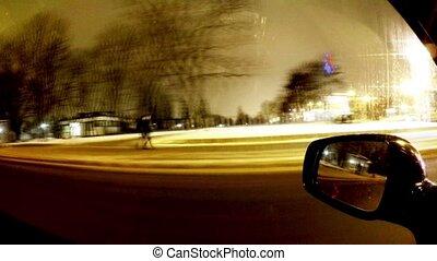fahren autos, nacht, in, der, city.