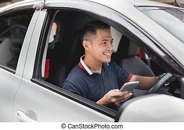 fahren, beweglich, während, telefon